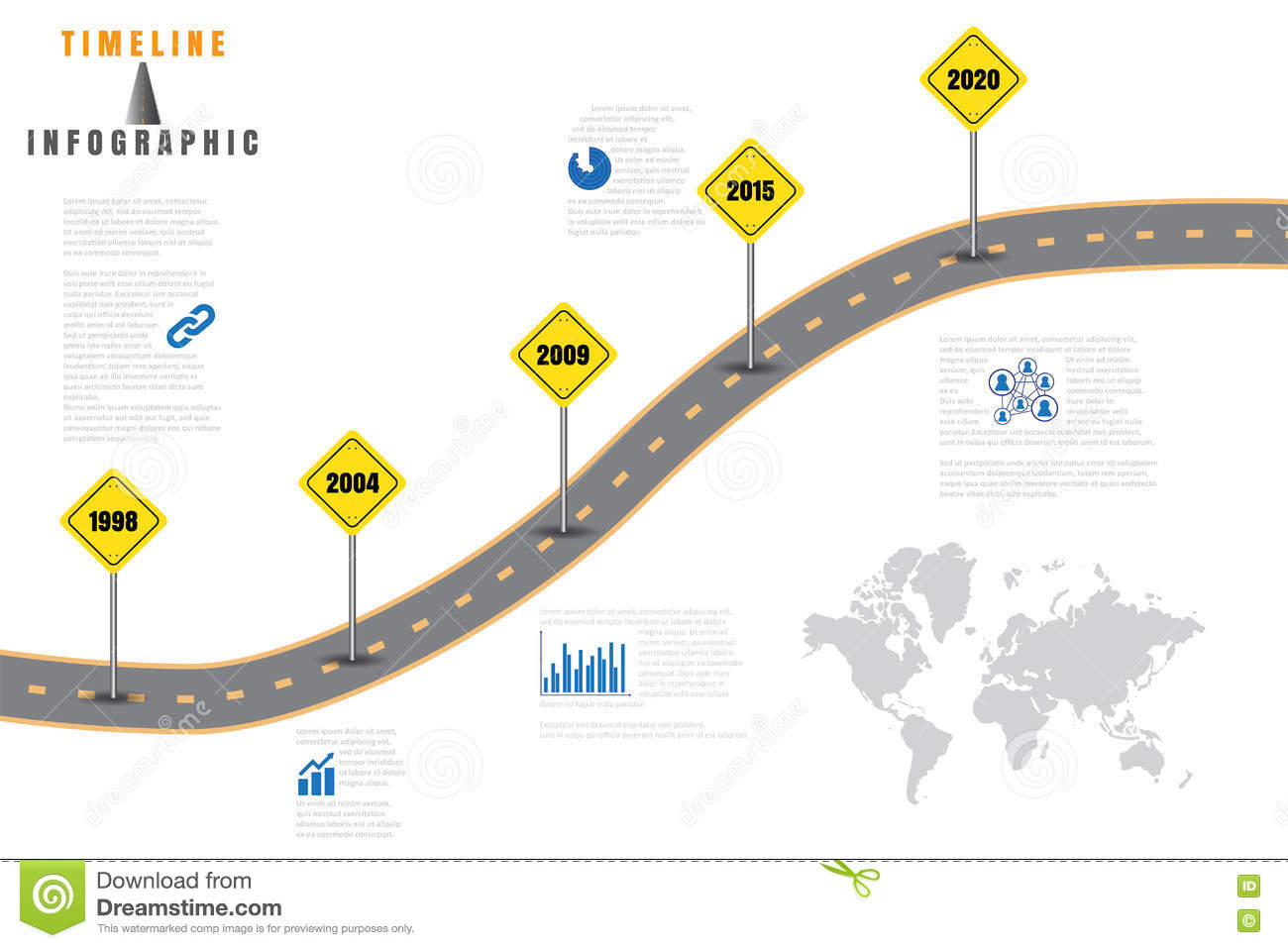 road map business timeline vector illustration royalty free stock image