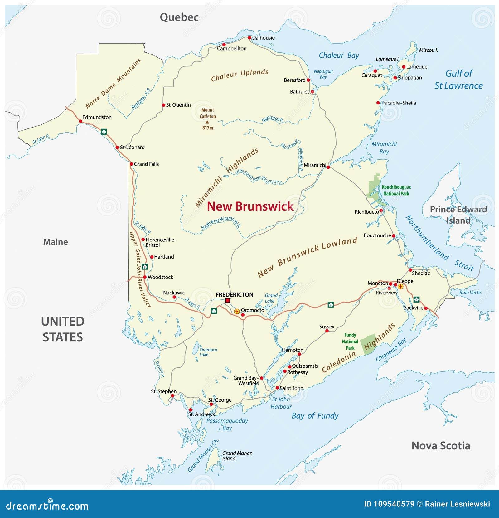 Map Of Canada New Brunswick.Road Map Of The Canada Atlantic Province New Brunswick Stock Vector