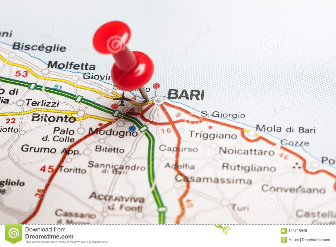 Bari Pinned On A Map Of Italy Stock Image Image Of Location