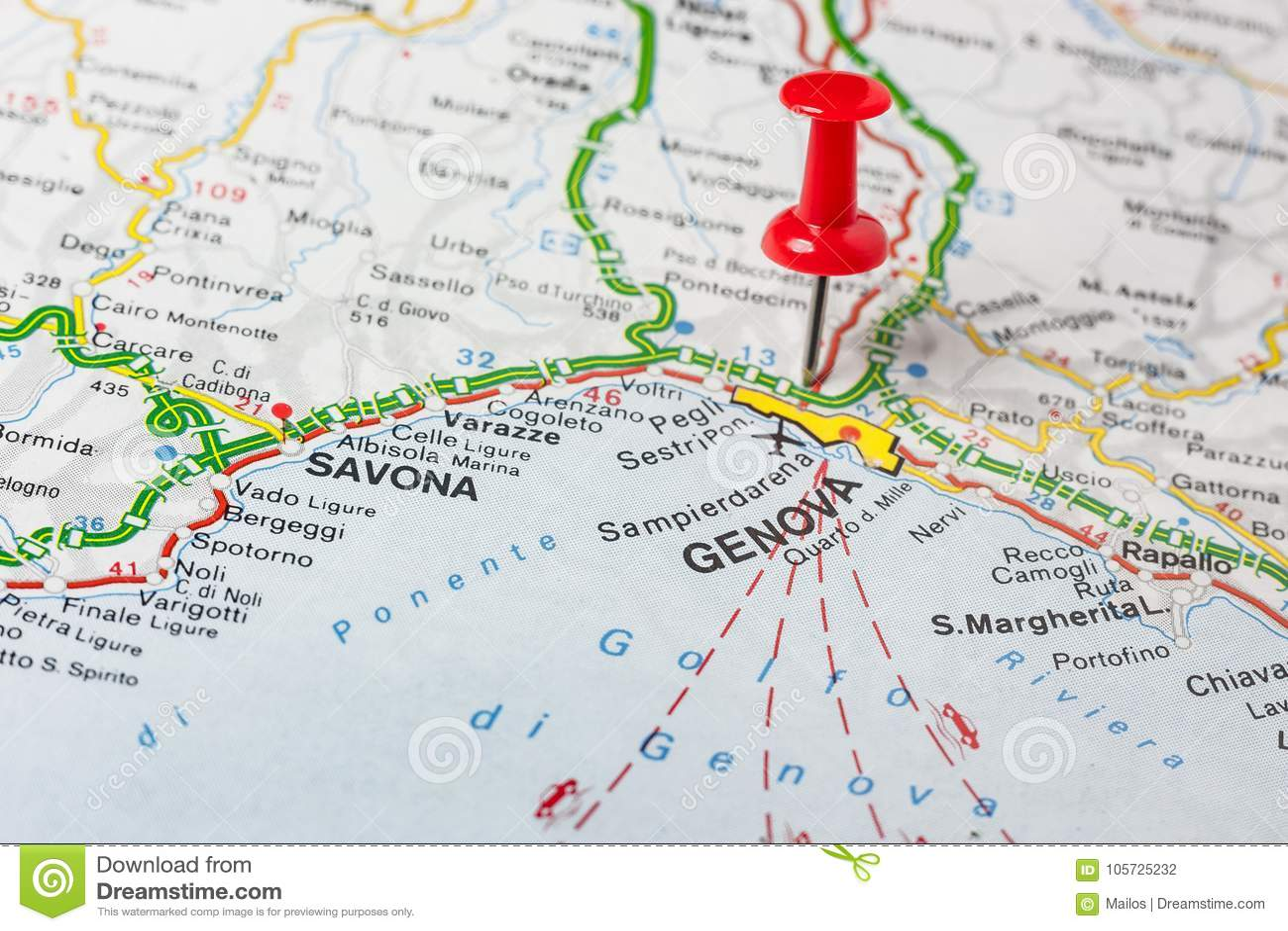 Genova Pinned On A Map Of Italy Stock Photo Image Of Italy City