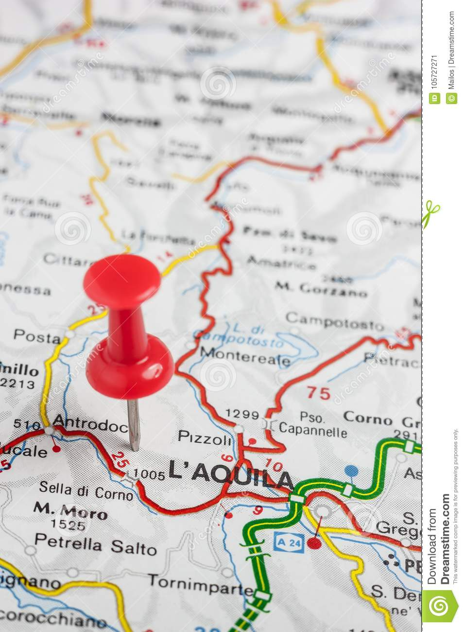 Aquila Italy Map.L X27 Aquila Pinned On A Map Of Italy Stock Image Image Of