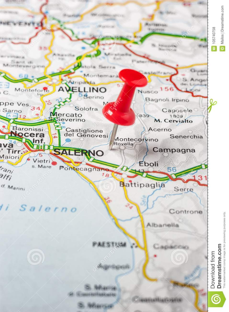 Salerno Pinned On A Map Of Italy Stock Photo Image Of Pinned