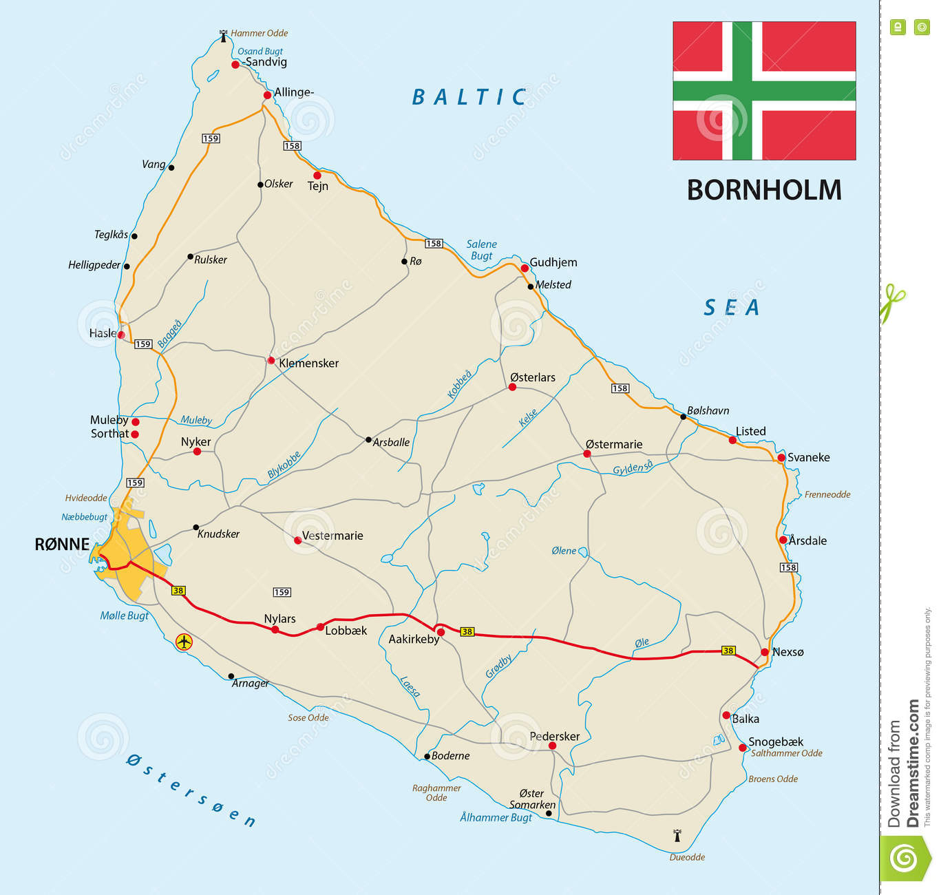Road Map Of The Danish Iseland Bornholm In The Baltic Sea With Flag ...
