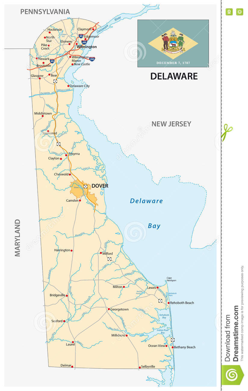 Road Map Delaware With Flag Stock Illustration Illustration Of