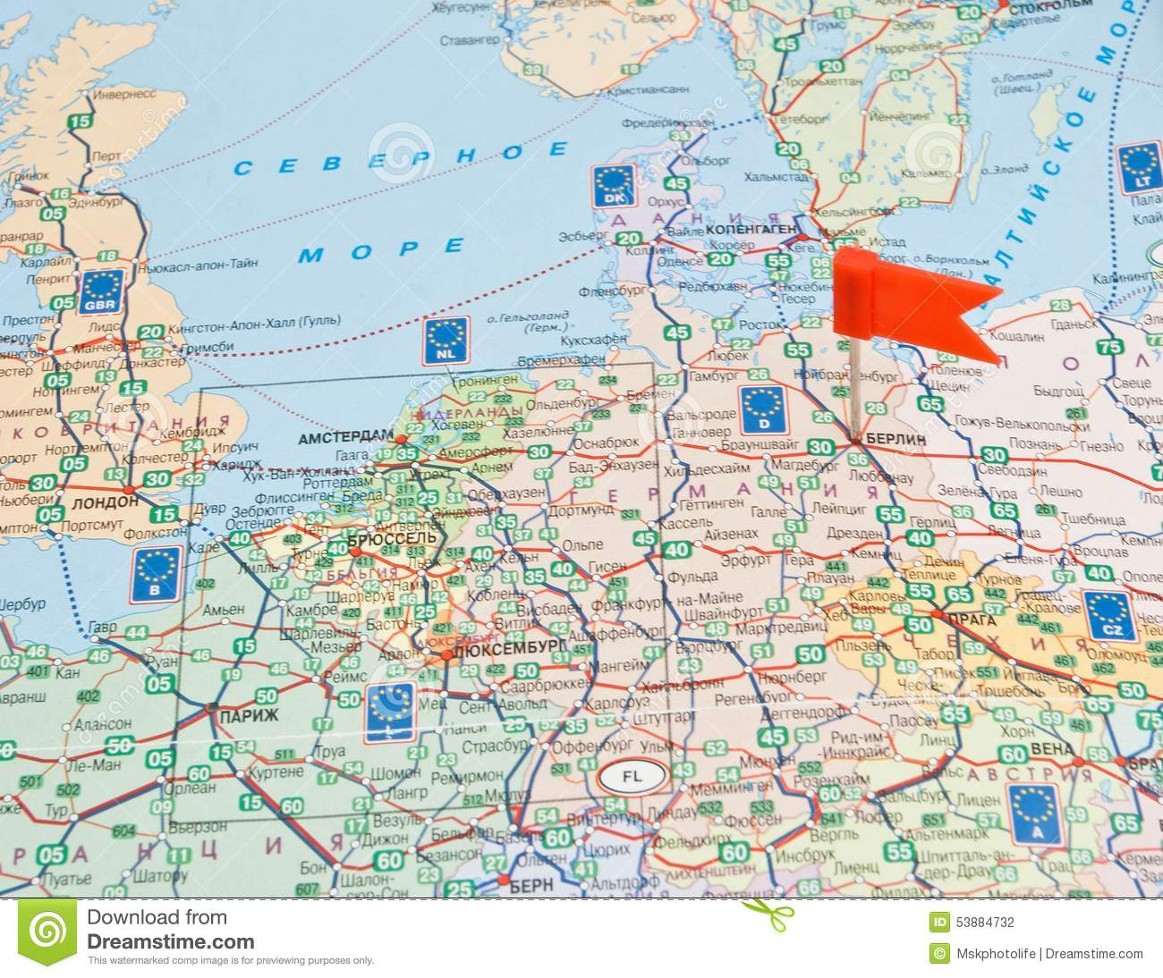 Road Map Of Europe With Note About The Route Stock Photo - Image of ...