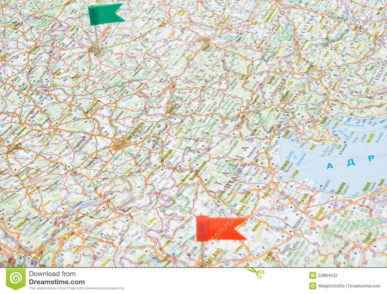 Road Map Of Europe With Notes Stock Photo - Image of route, ride ...