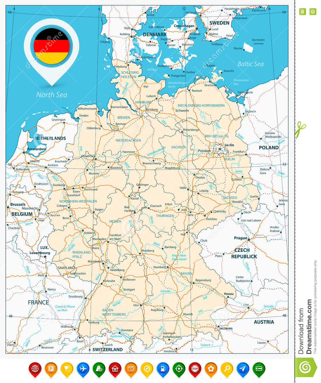 Road Map Of Germany And Colored Map Pointers Stock Vector ...