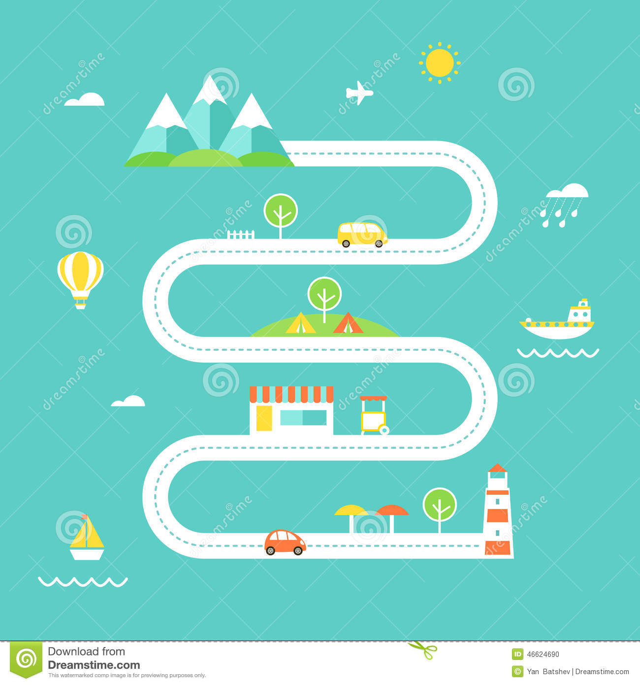 Road map illustration travel and recreation concept flat for Map designer free