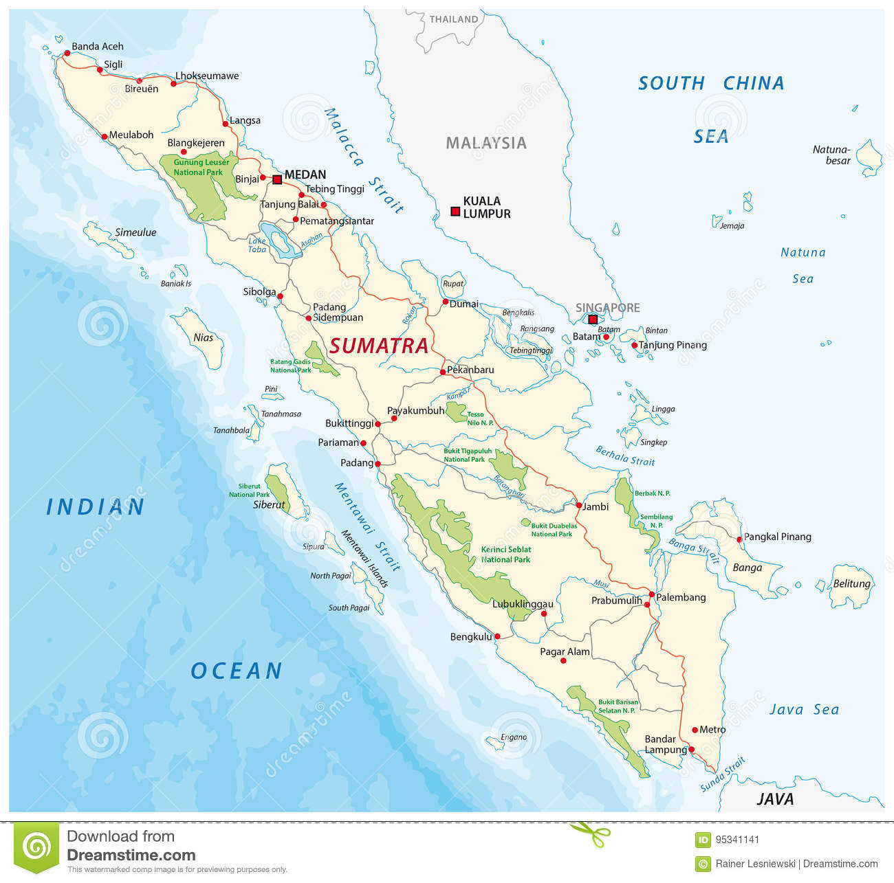 Road map of the indonesian island sumatra stock vector download comp gumiabroncs Gallery