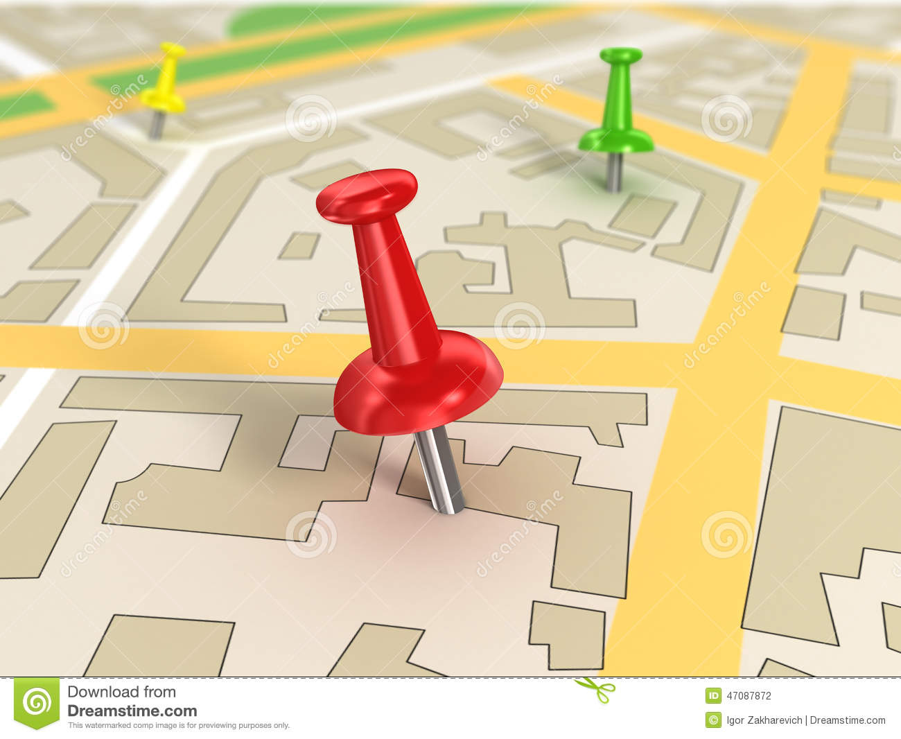 Free Google Maps Pointer Icon: Road Map With Pin Pointers Stock Illustration