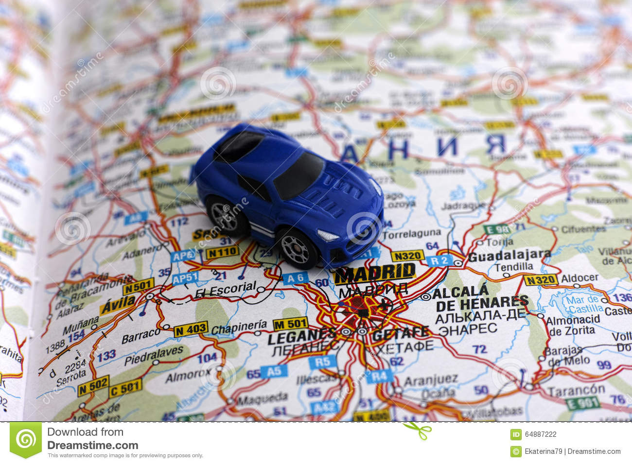 Road Map Of Spain.Road Map Of Spain With Car Stock Photo Image Of Cartography 64887222