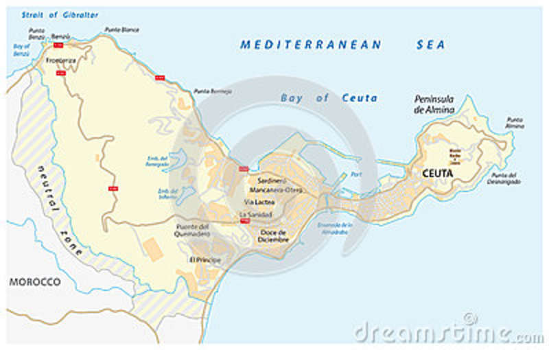 Road Map Of The Spanish Enclave Ceuta On The African Continent Stock