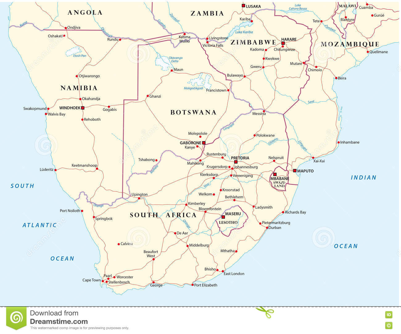 Road Map Of The States Of Southern Africa Stock Illustration