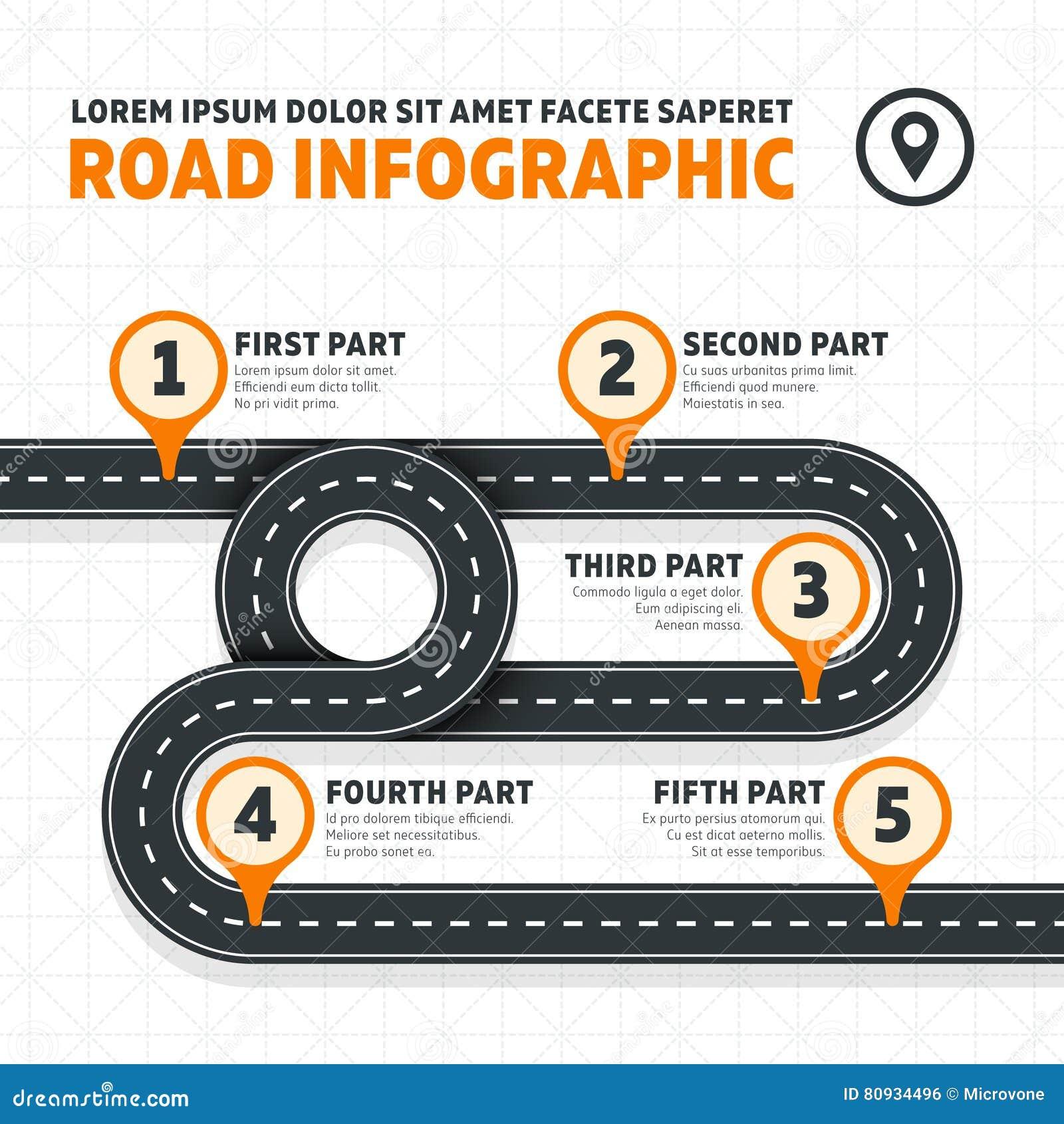 Road Map Street Highway Modern Vector Business Infographics Stock Vector Illustration Of Line Info 80934496