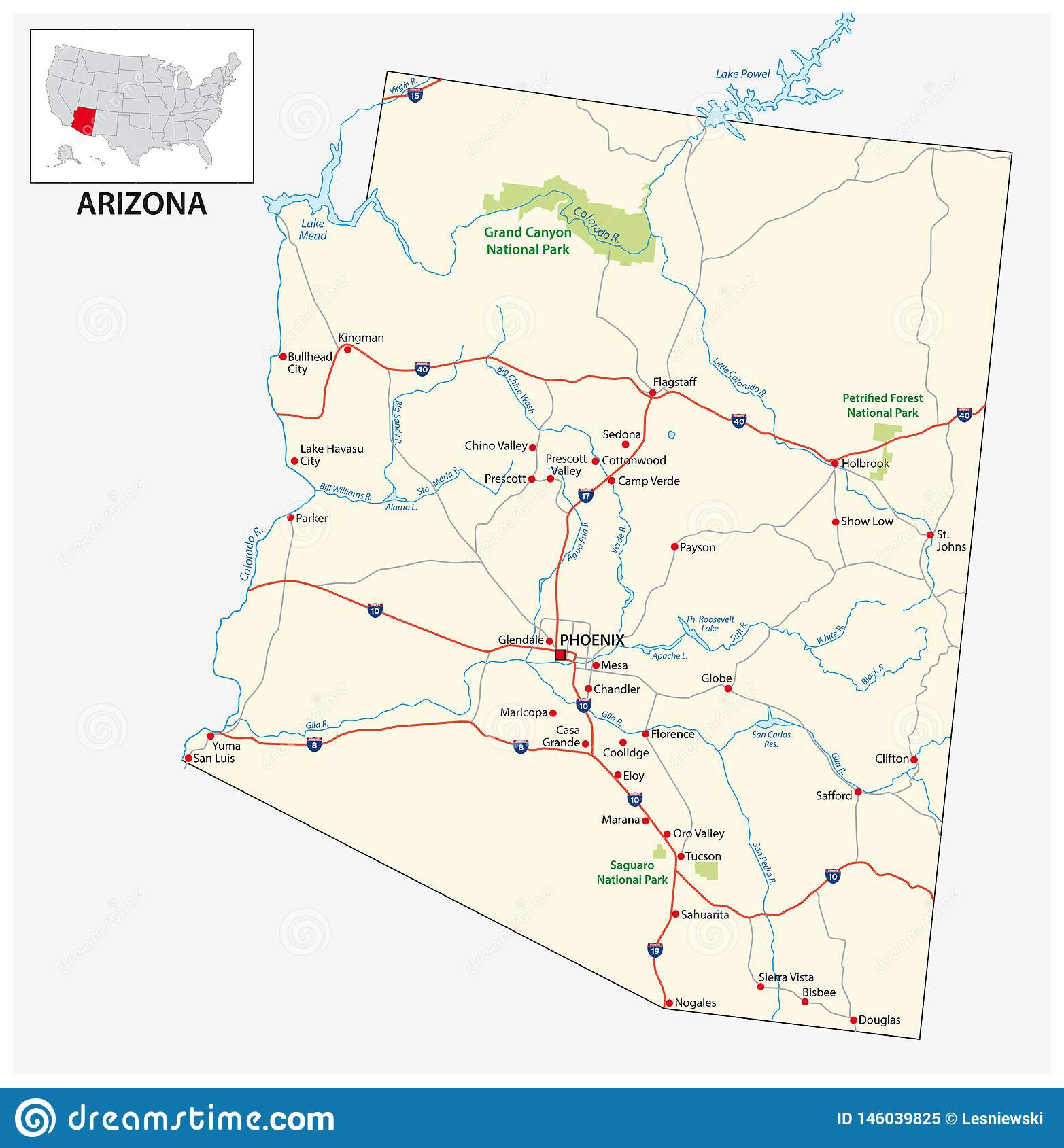 Road Map Of The US American State Of Arizona Stock Vector ...