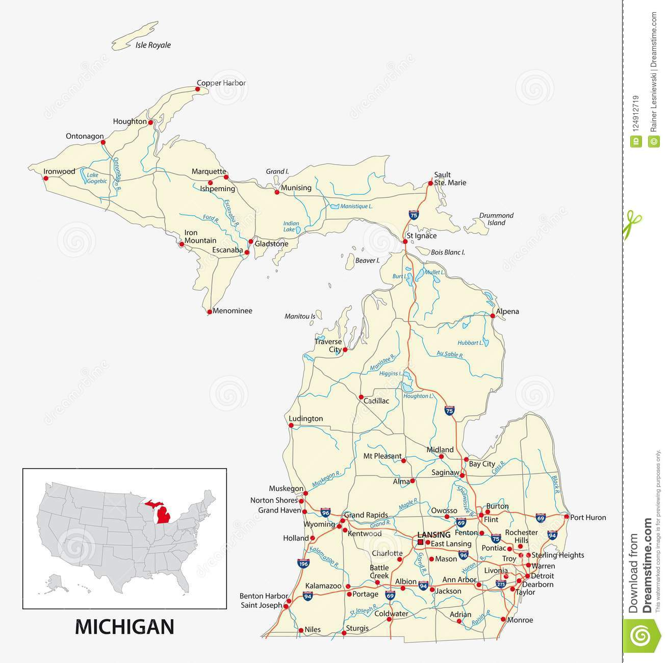 Road Map Of The US American State Of Michigan Stock Vector ...