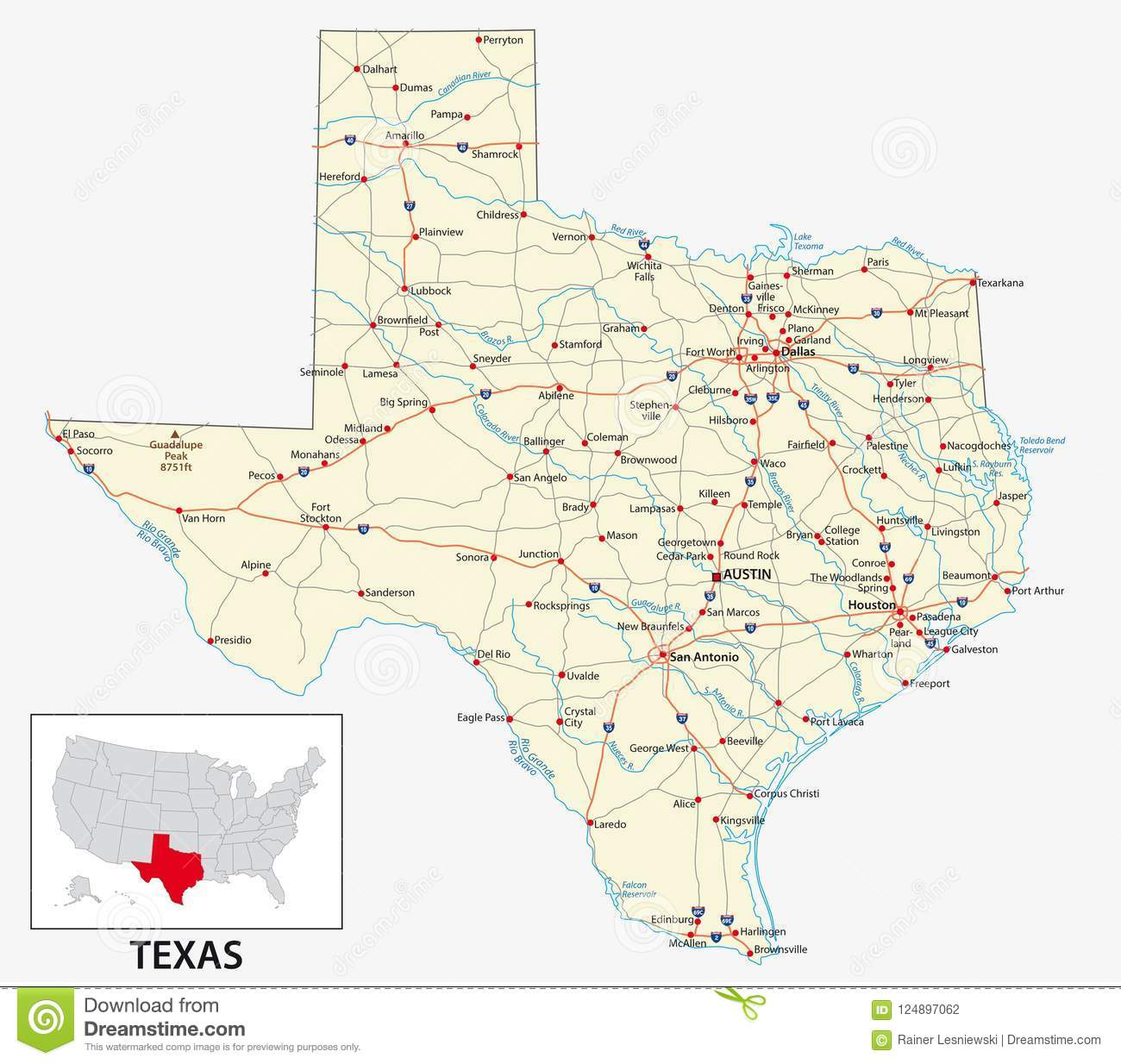 Road Map Of Texas State.Road Map Of The Us American State Of Texas Stock Vector