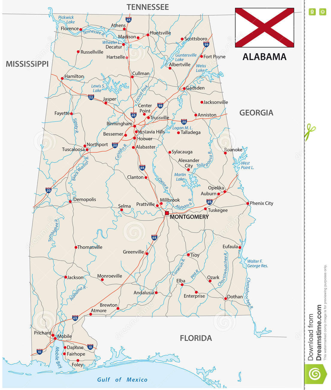 Road Map Of The US State Alabama With Flag Stock Vector ...