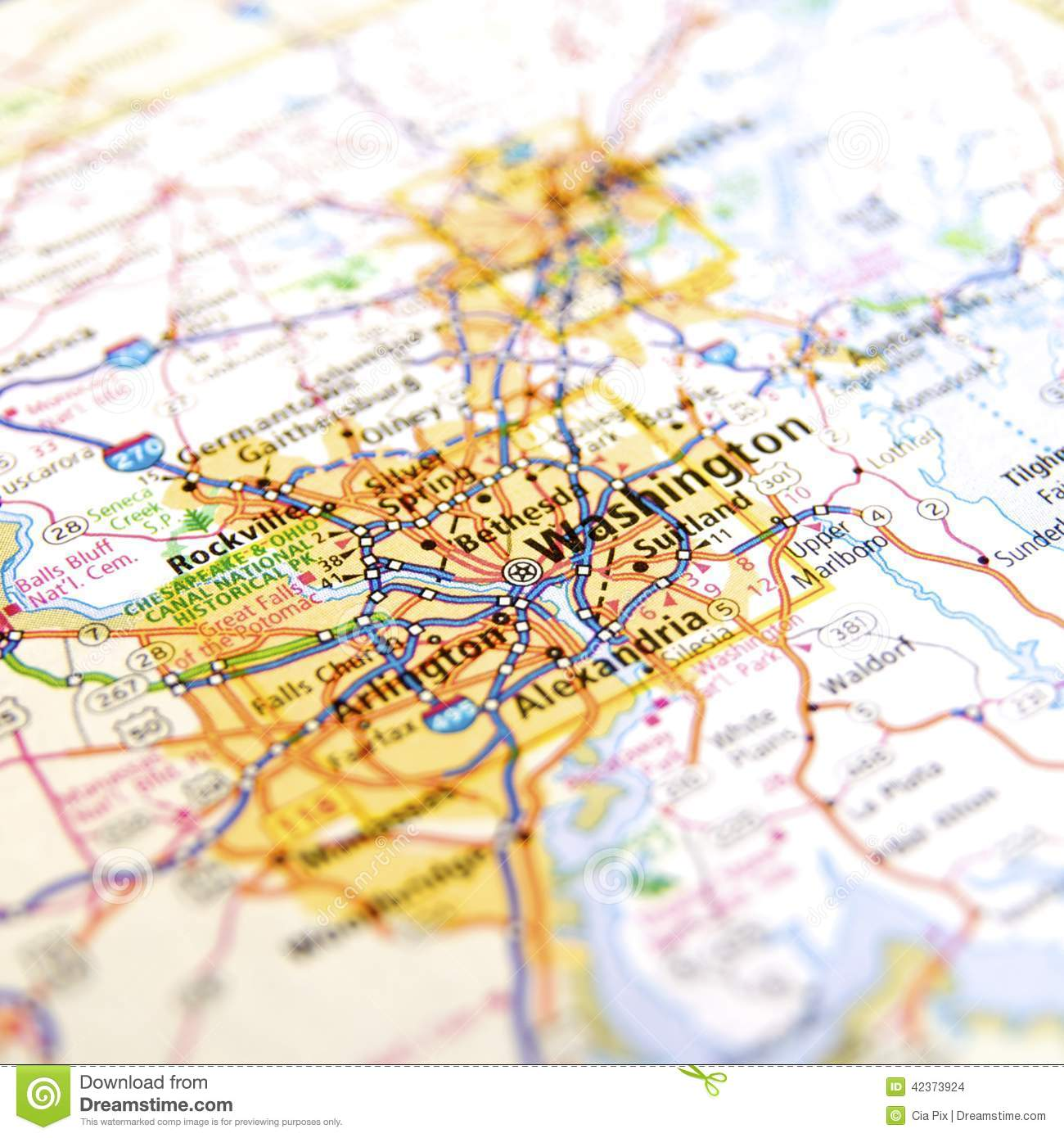 Road Map Of Virginia Around Washington DC Stock Photo Image - Road map virginia