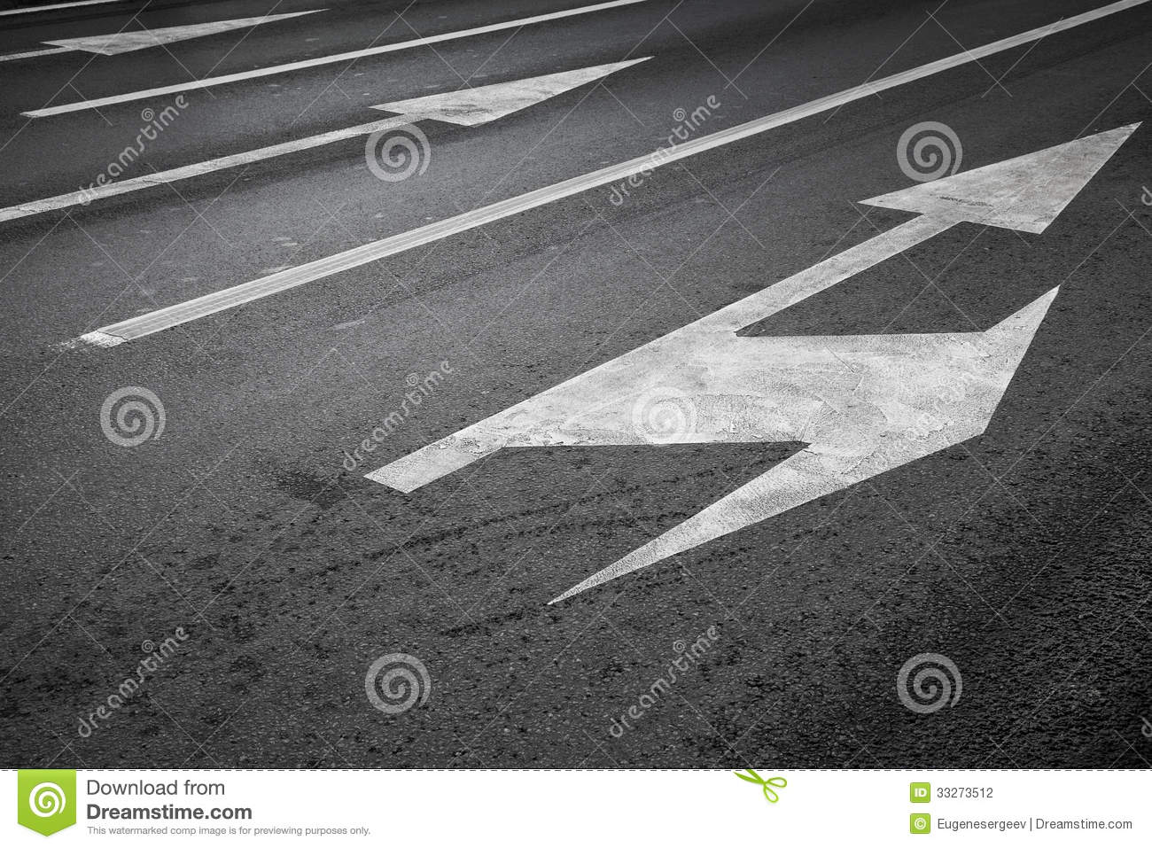 Road Marking With White Lines And Arrows Stock Photography ...