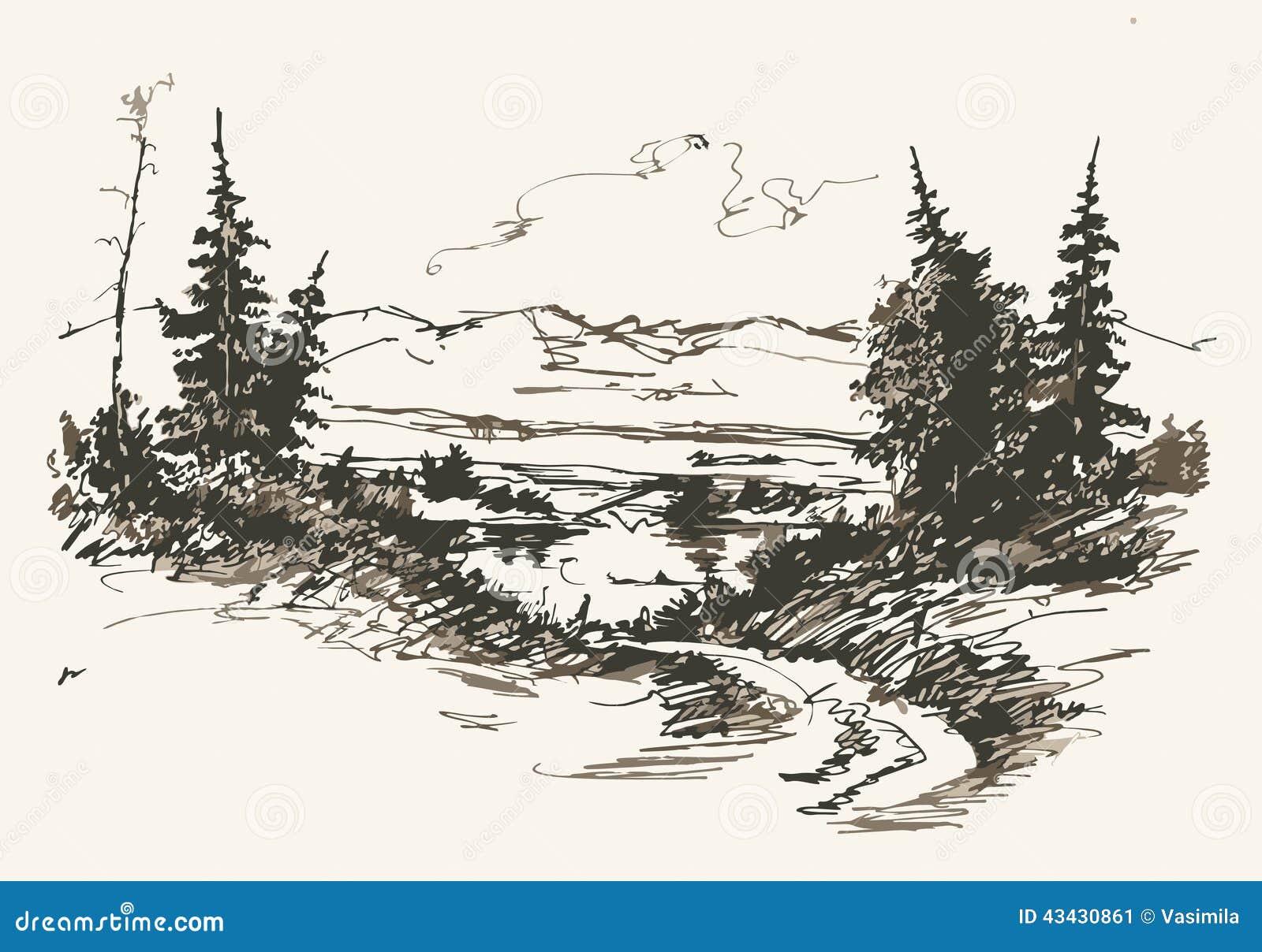 Stock Vector  Road in mountainsMountain Landscape Outline