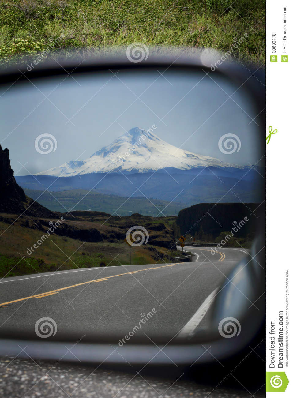 Time Road Id Roblox: Road From Mt Hood In Rear View Mirror Stock Photo