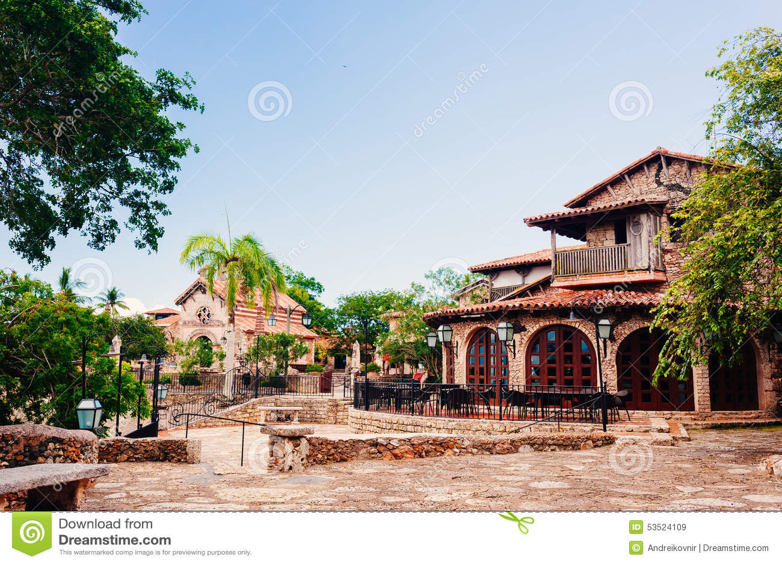 Road in park ancient village altos de chavon stock - Casa de campo park ...