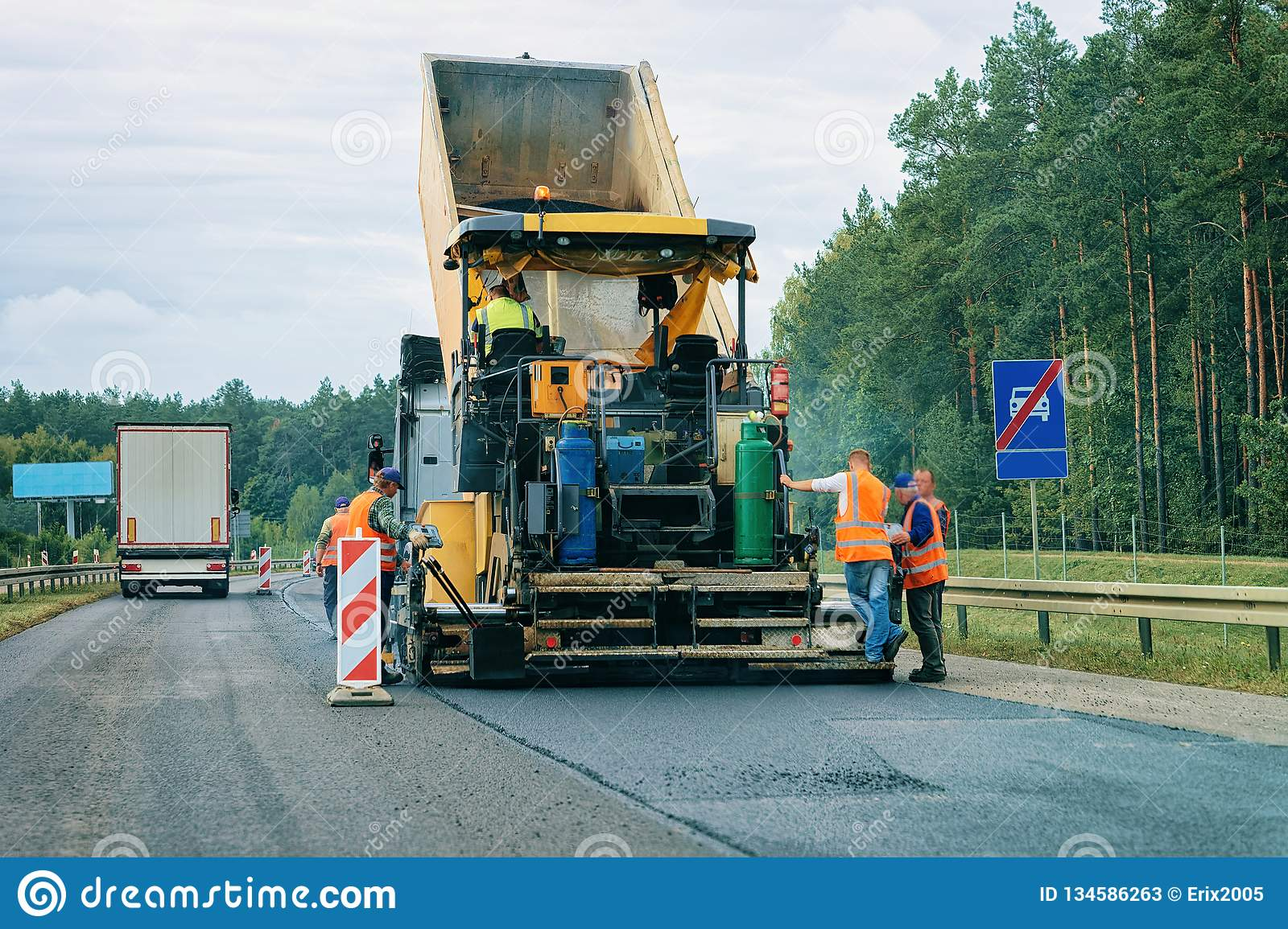 Road paving machine on road in Slovenia