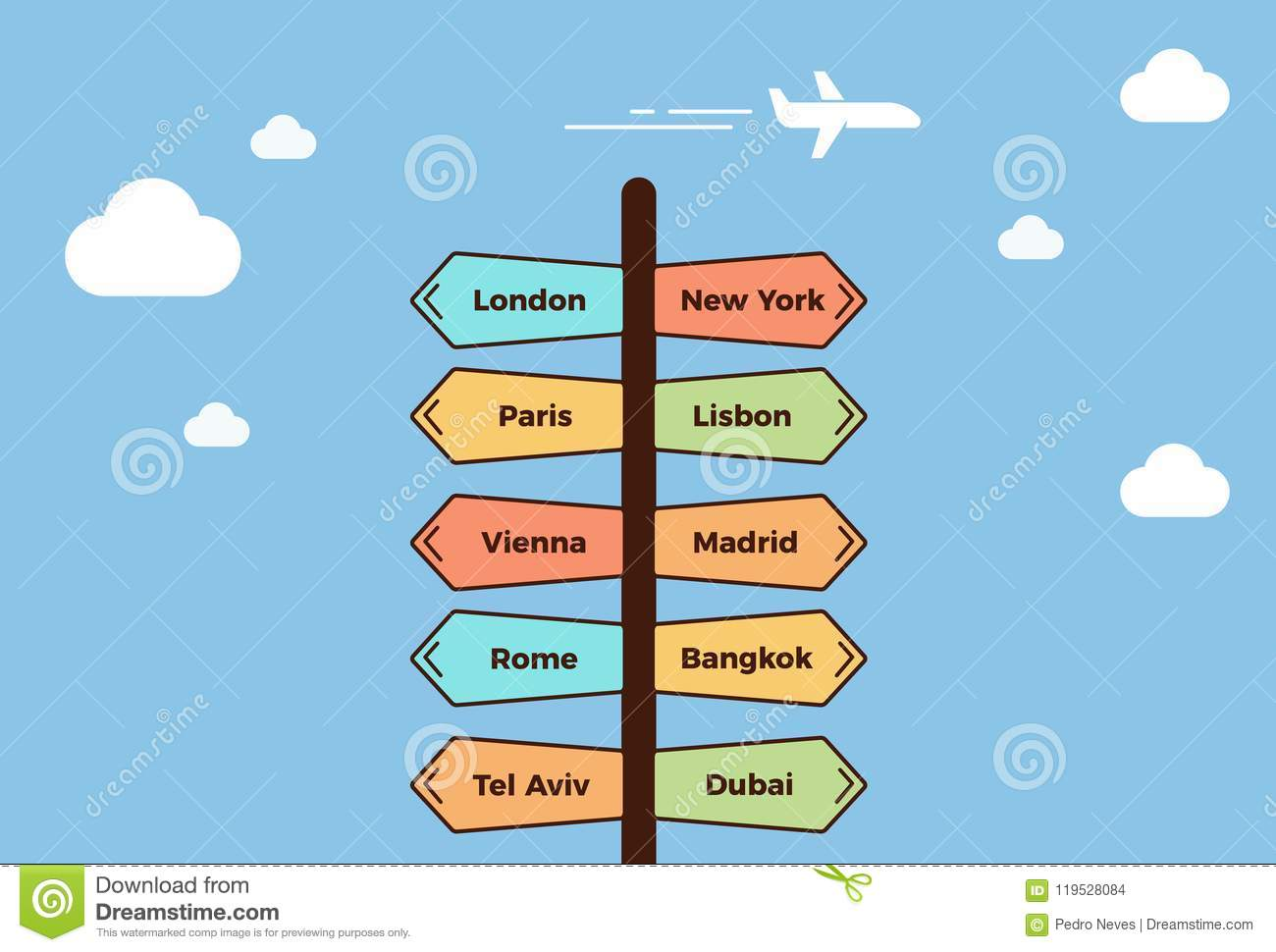 Road post pointing towards different cities. Signpost showing different traveling destinations. Summer holidays concept