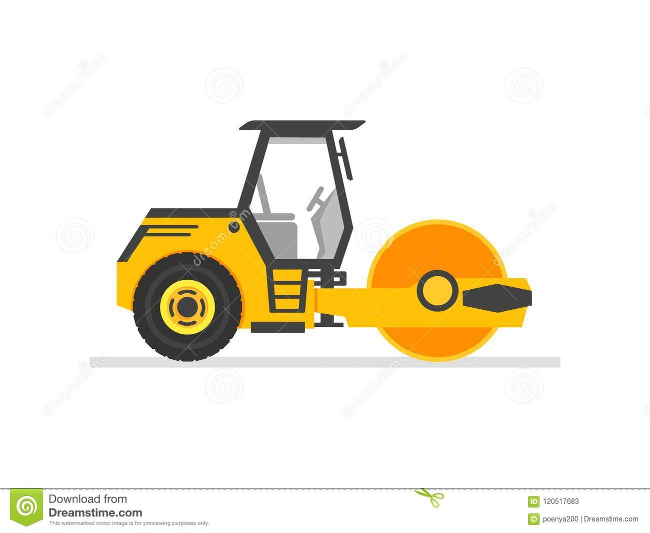 road roller heavy equipment. road roller asphalt compactor. Flat style steamroller Isolated On white clean background. Vector illu