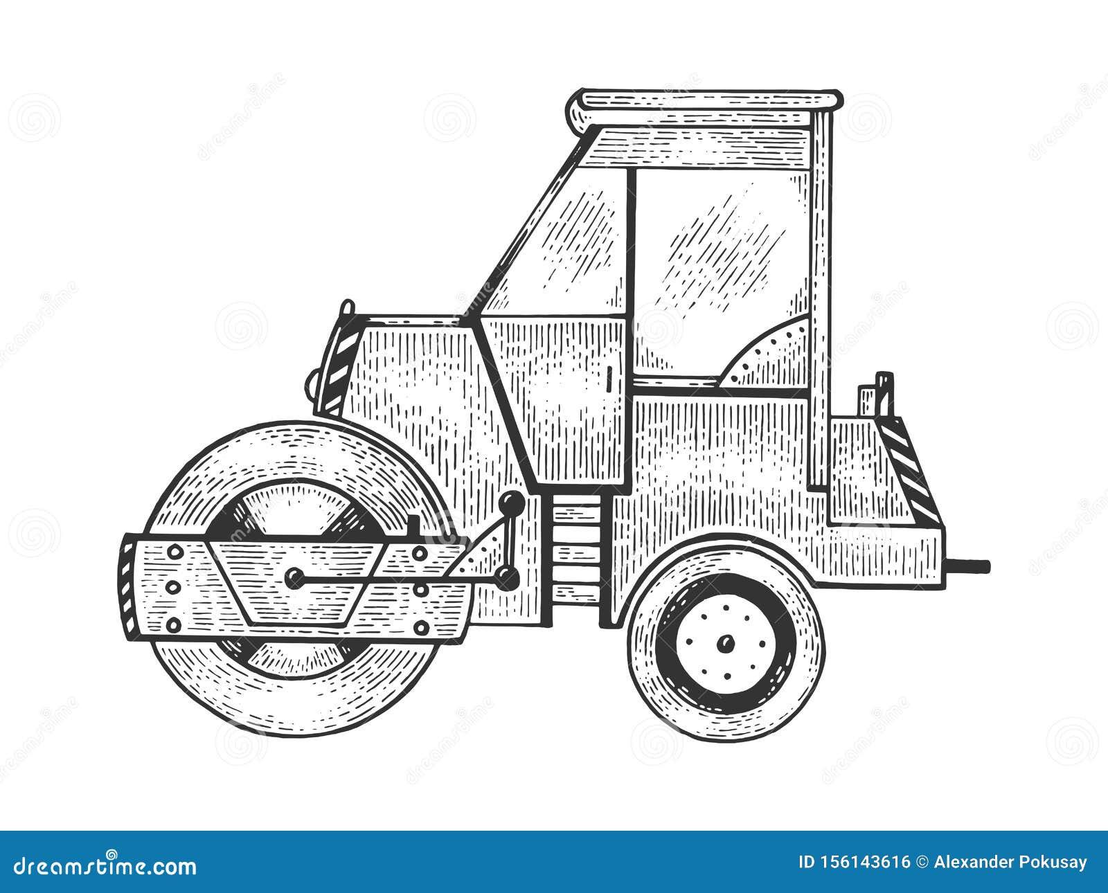 Road roller tractor machine sketch engraving