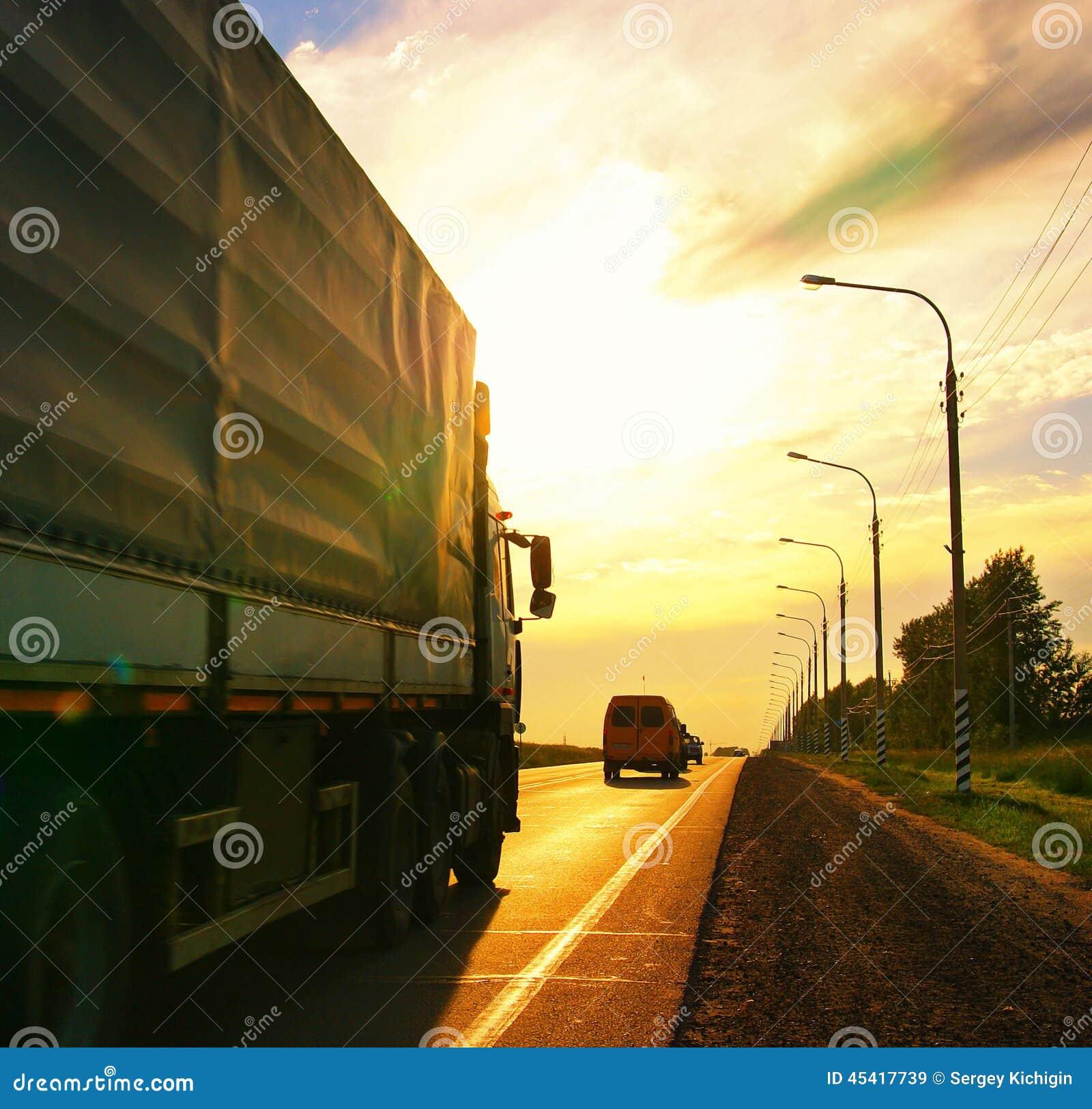 Road route blur truck russia