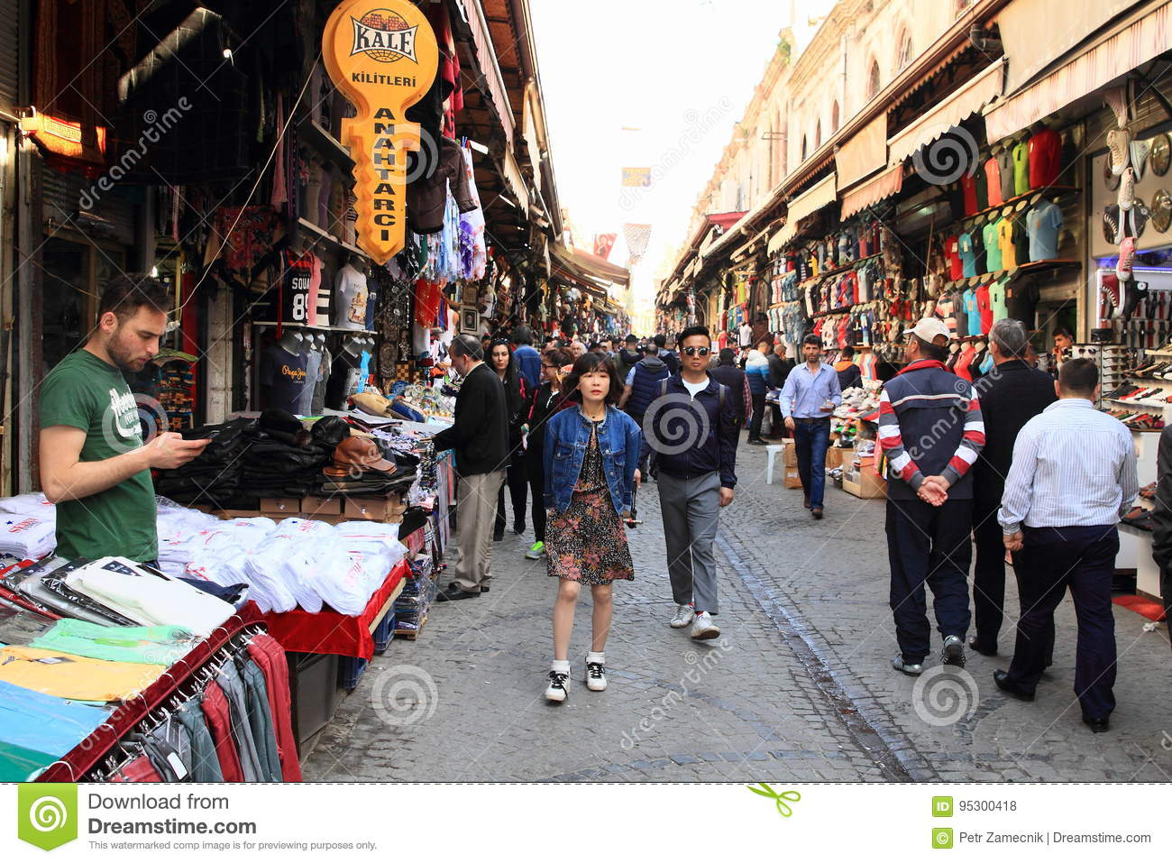Road with shops by Grand Bazaar in Istanbul
