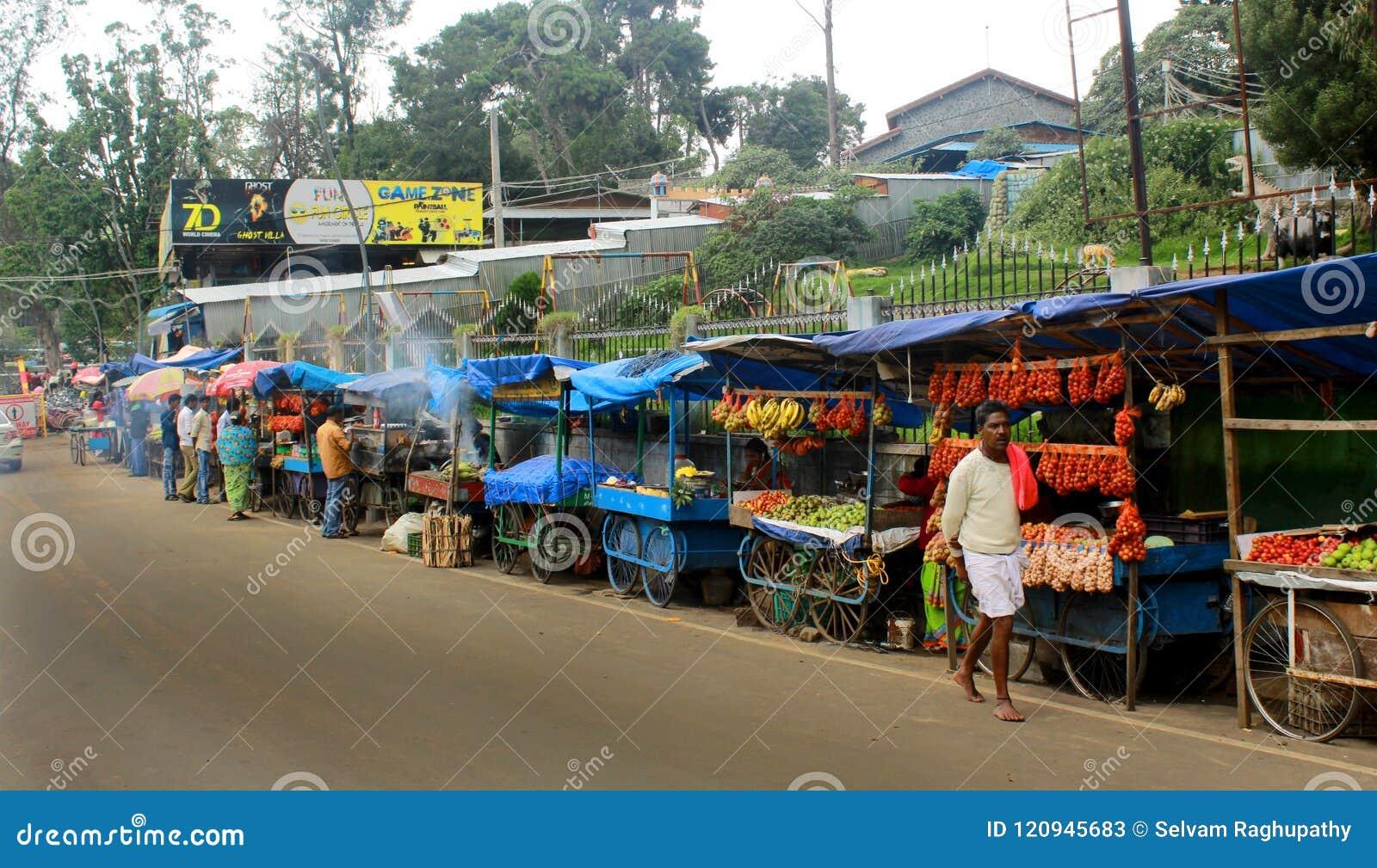 Road Shops At The Kodaikanal Lake Near The Boat House  Editorial