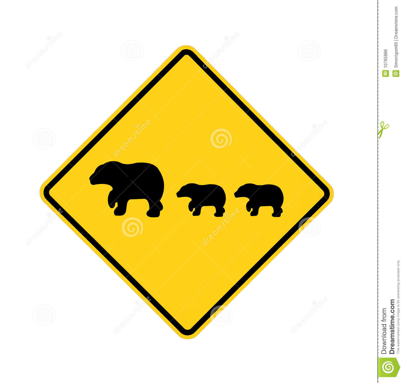 Road Sign - Bear Crossing Royalty Free Stock Image - Image: 10765886