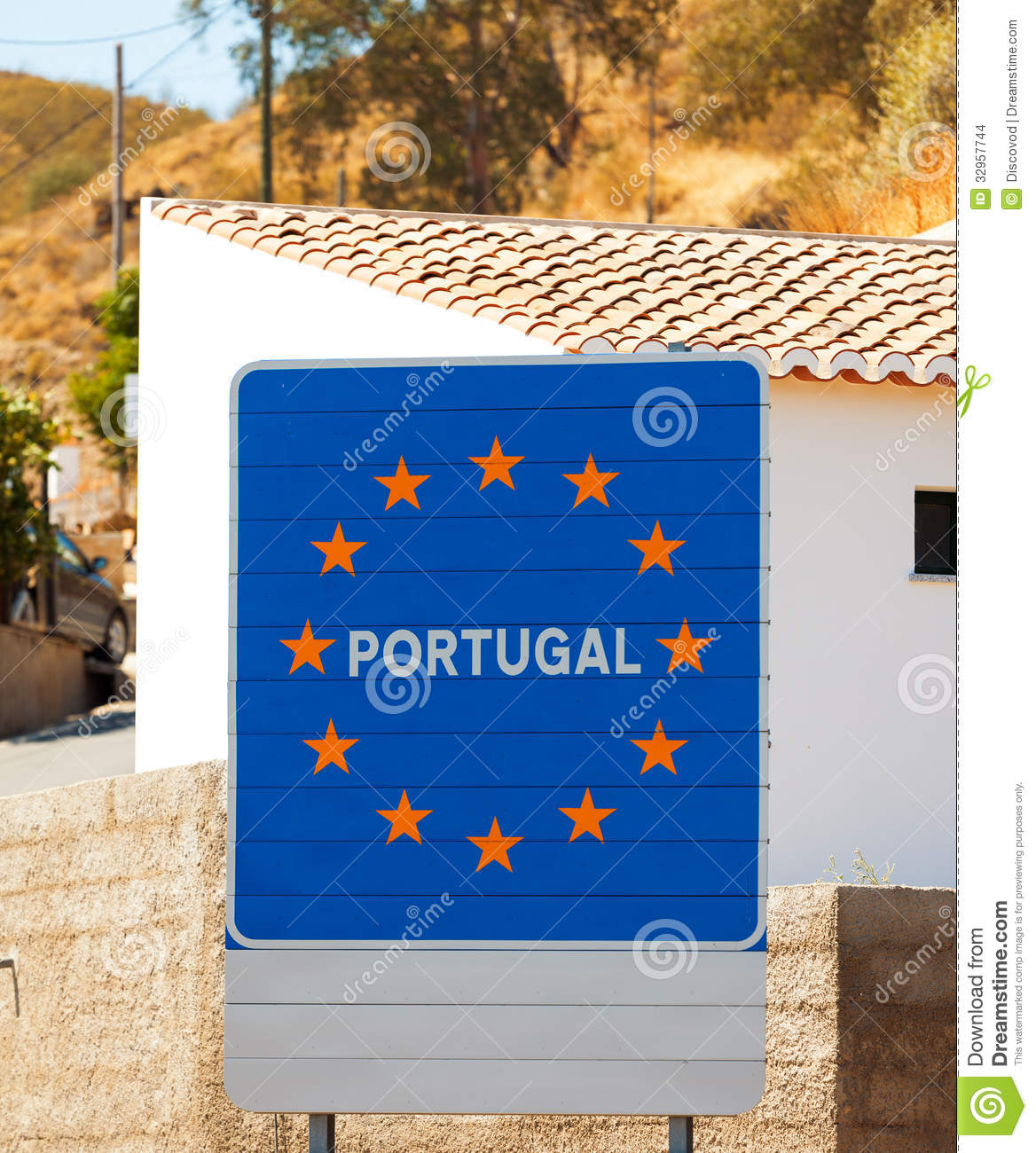 Road sign on the border of a european union country portugal