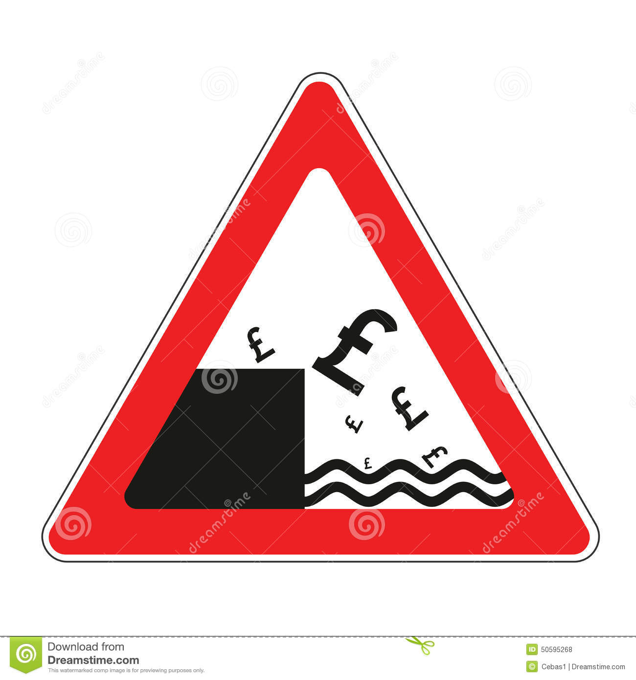 Road sign with concept of declining pound
