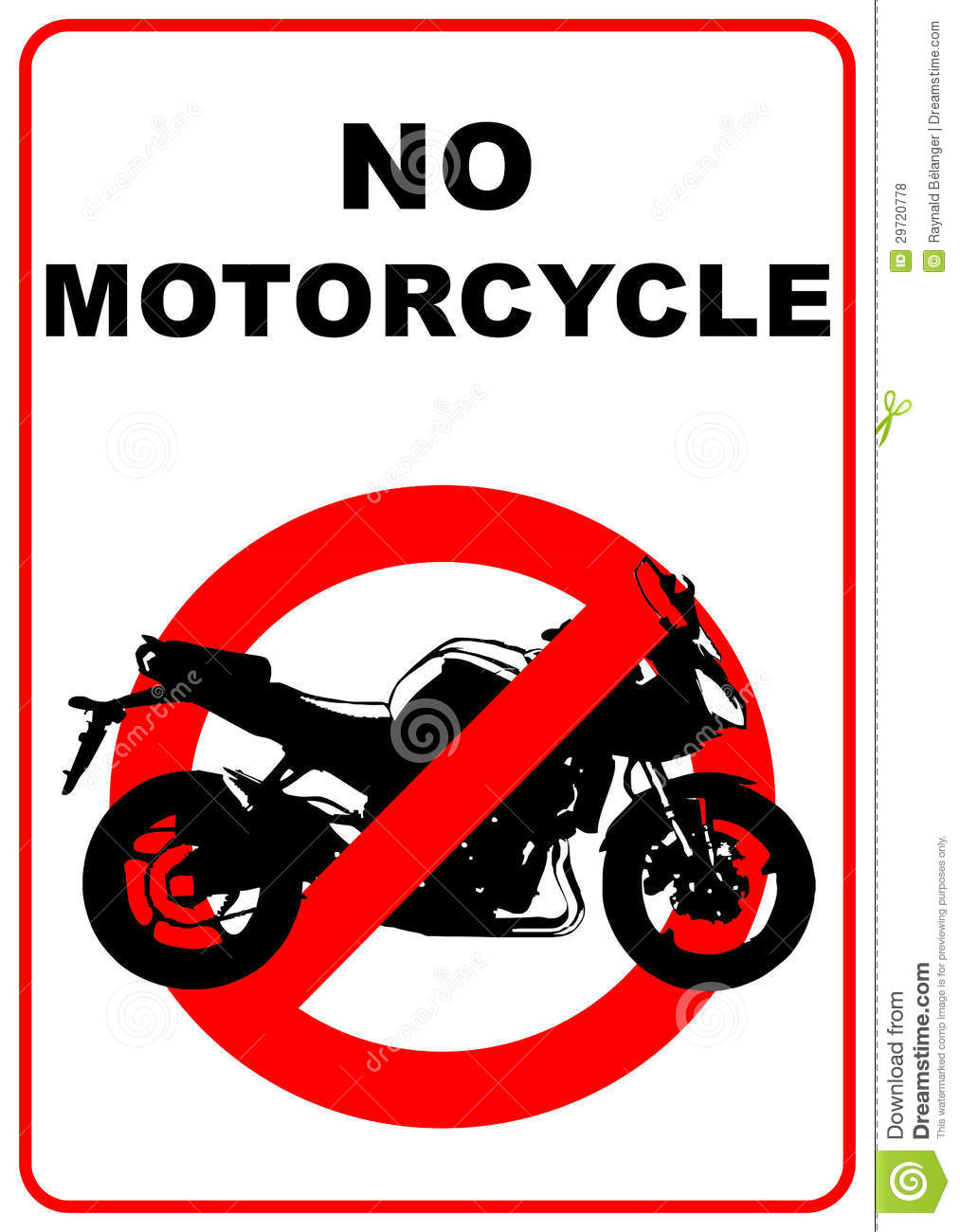 Road sign denoting no through road for motorcycles - illustration.