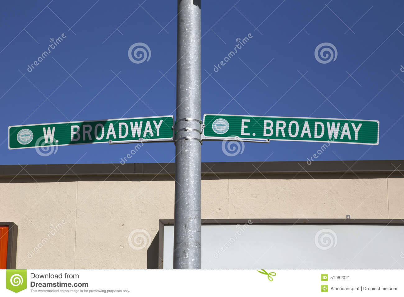 Road sign for East and West Broway, South Boston, Massachusetts, USA