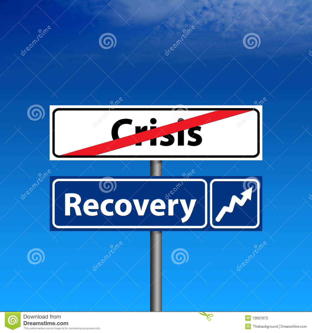 Road Sign The End Of Crisis Economic Recovery Stock