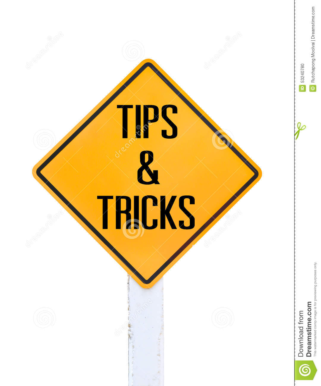 Road Sign Indicating Tips And Tricks Stock Photo