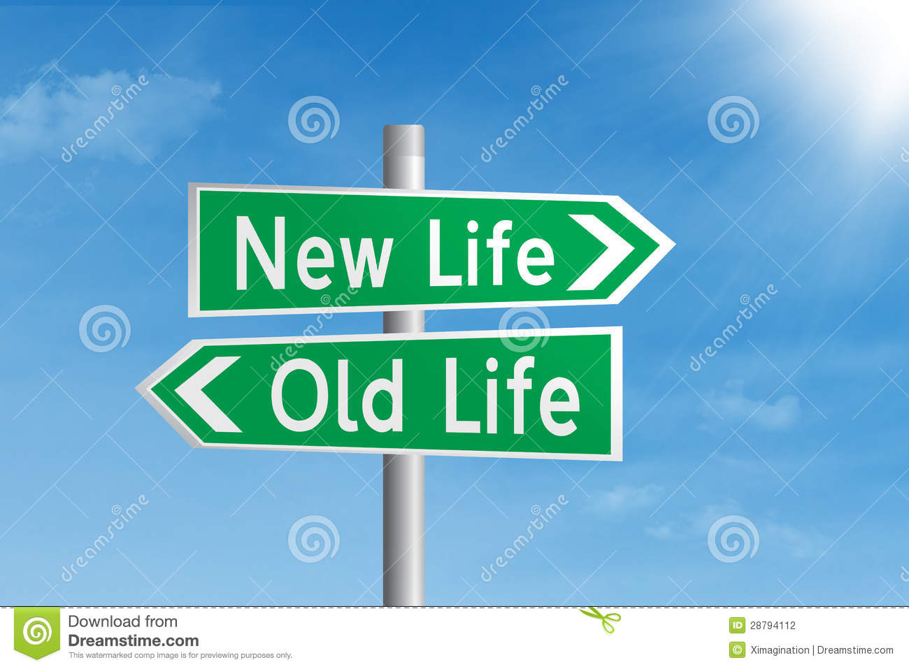 Road Sign Of New Life Vs Old Life Stock Photography - Image: 28794112