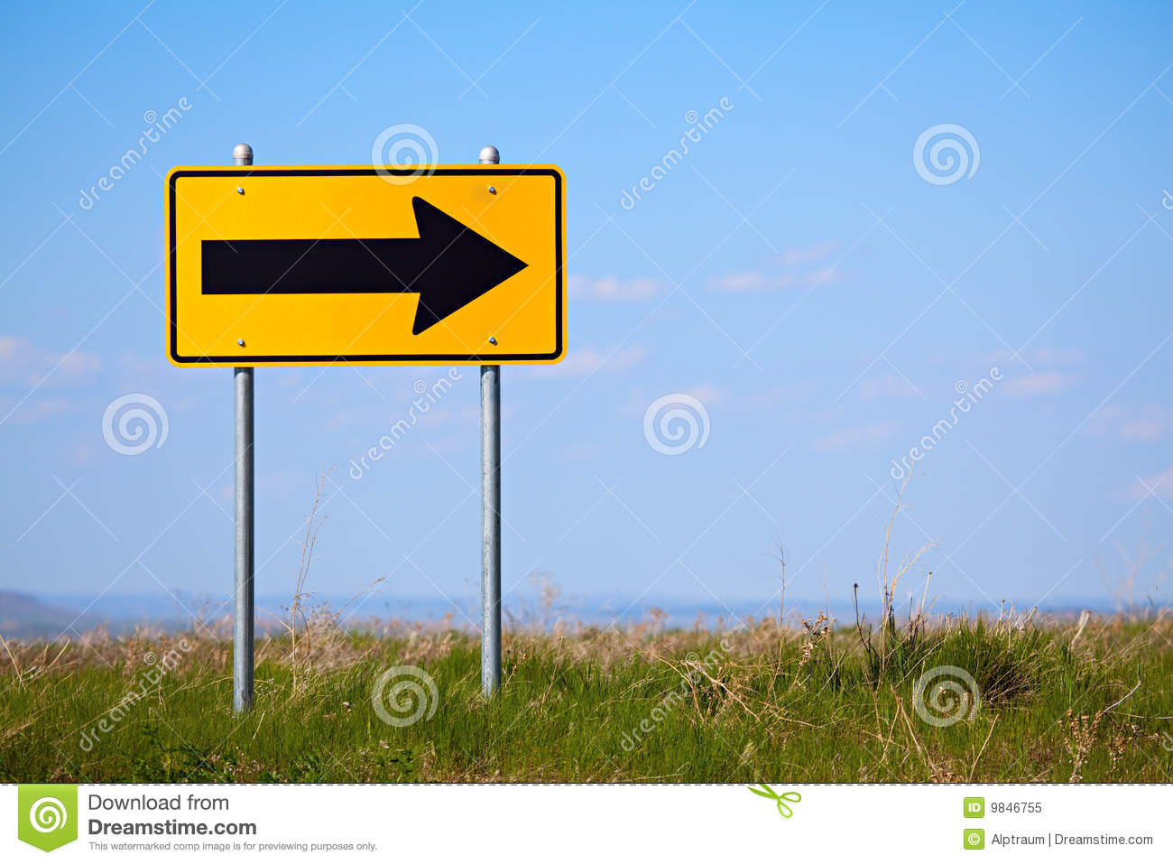 Road sign right turn one way