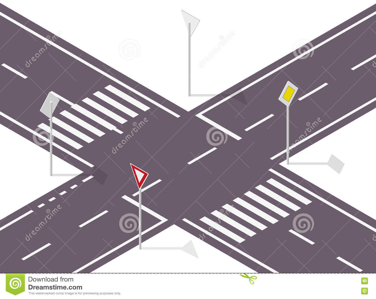 Road Sign On Street. Street Traffic Sign. Info Graphic Crossway. Stock Vector