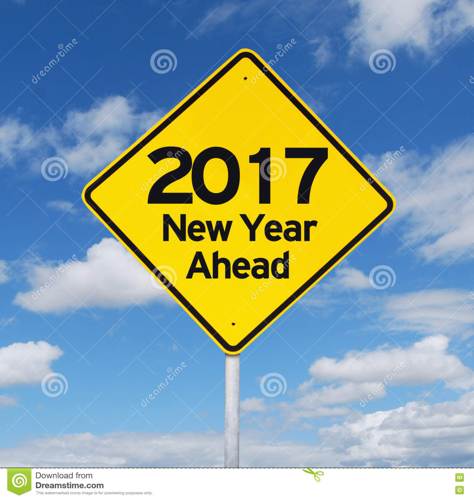 Road Sign Toward New Year 2017 Stock Image