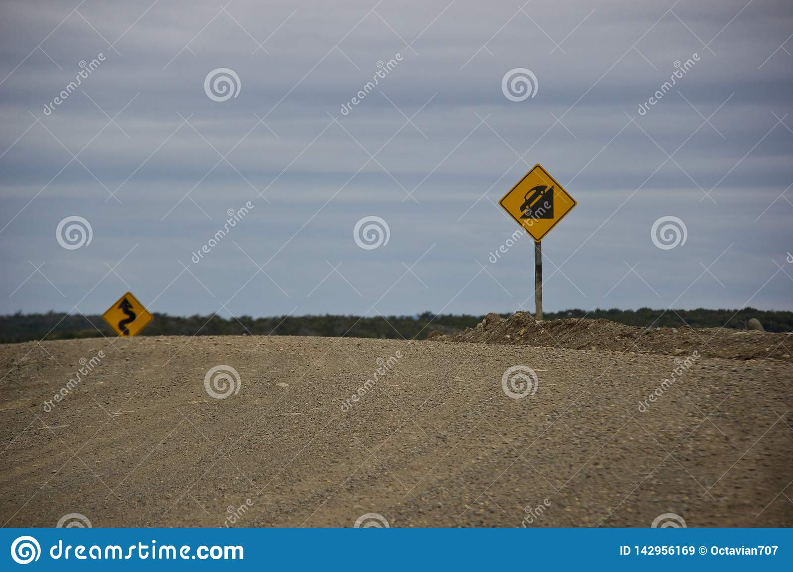 Road signs for dangerous roads in Argentina