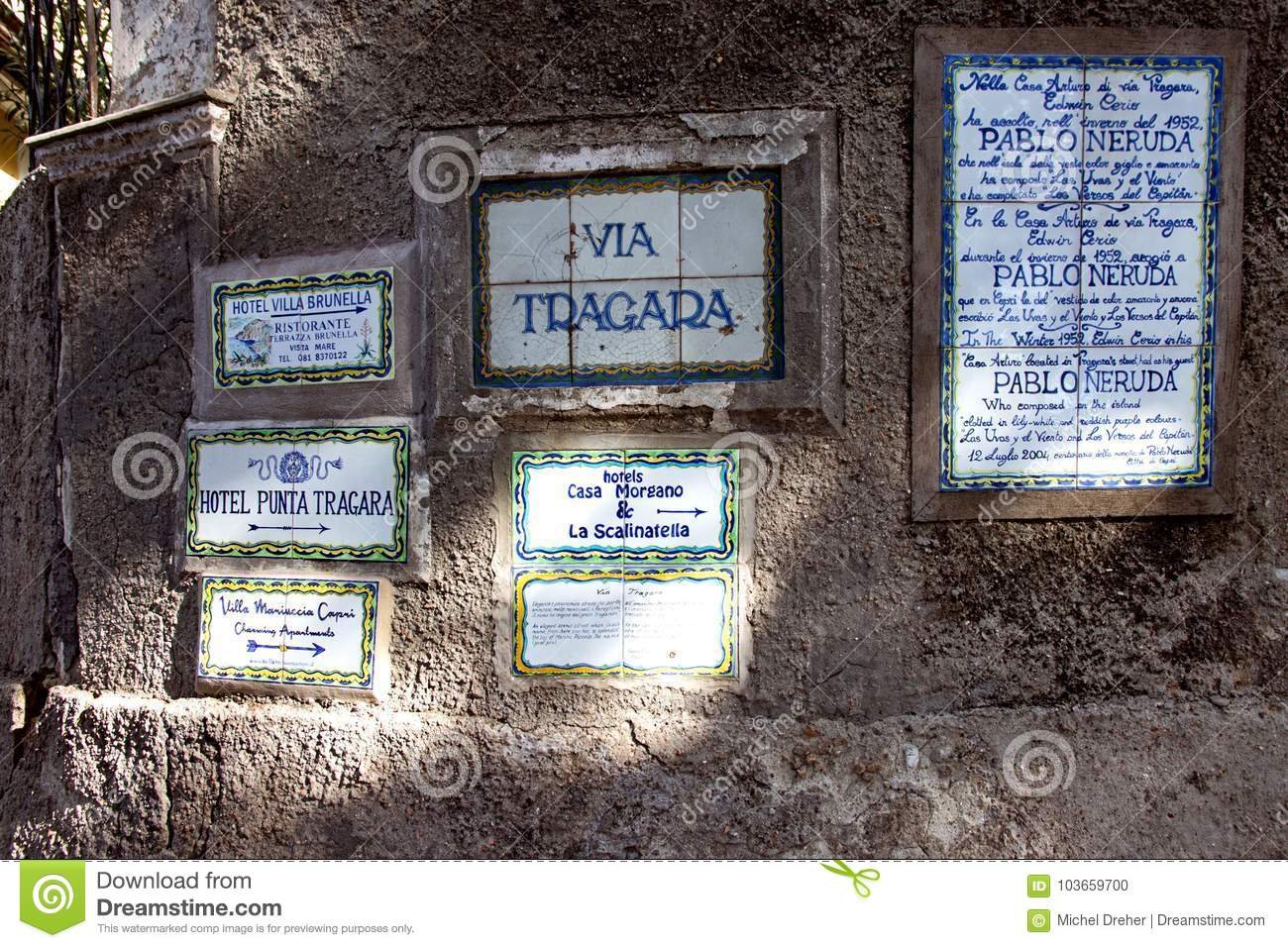 Road Signs On Island Of Capri Editorial Image Image Of