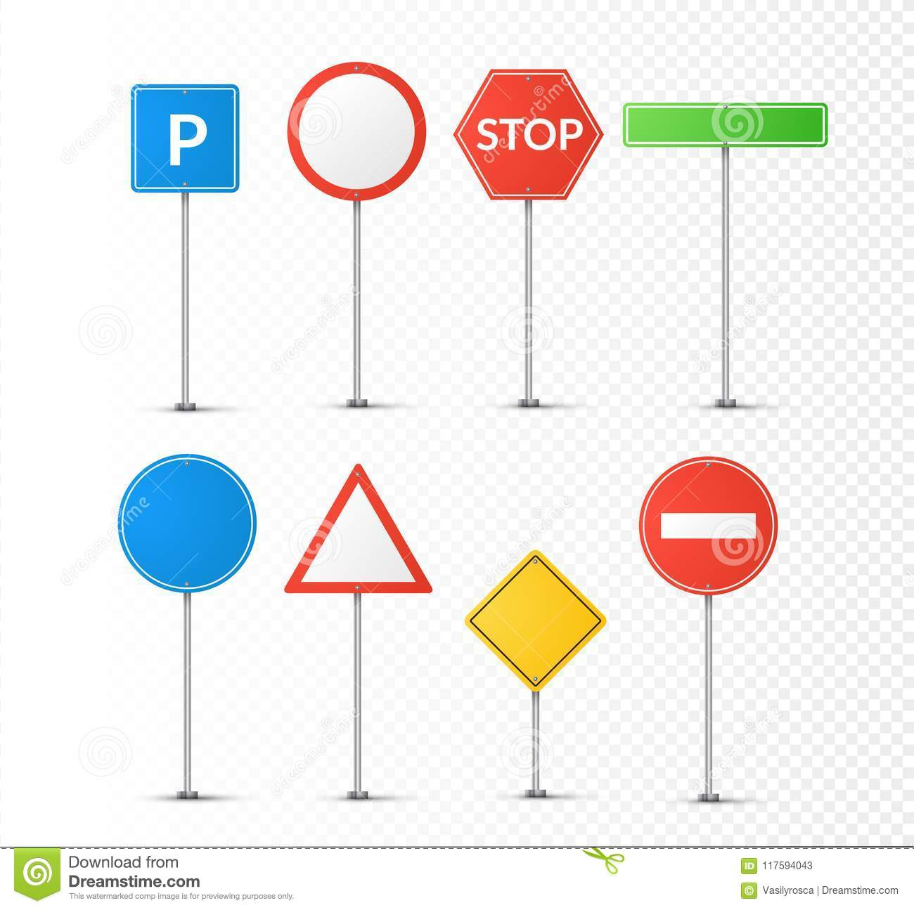 Road Signs Isolated On Transparent Vector Street Signs Illustration