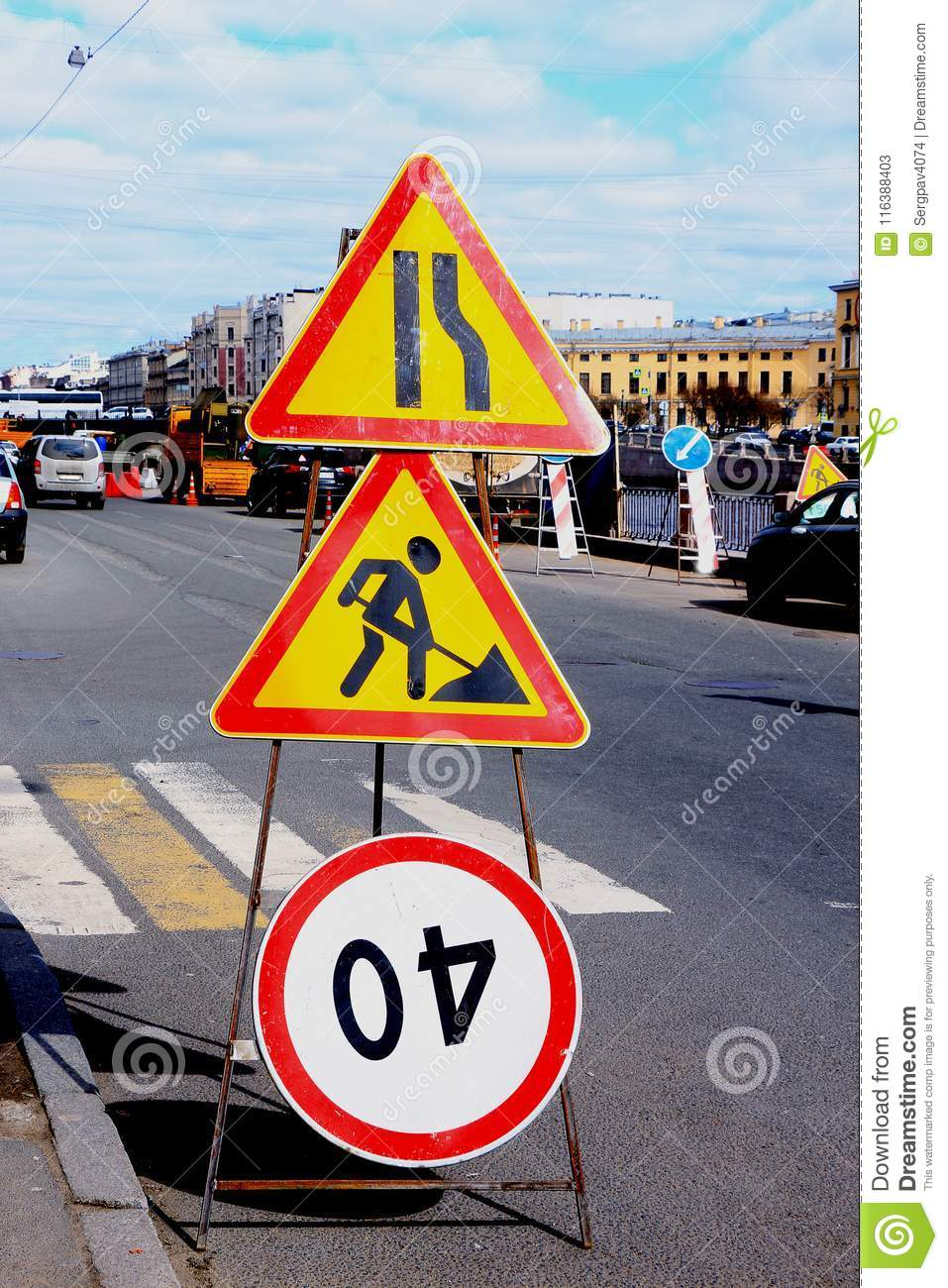 That Upside Down Traffic Sign Turns Out >> Road Signs Of Repair Work Stock Image Image Of Danger 116388403
