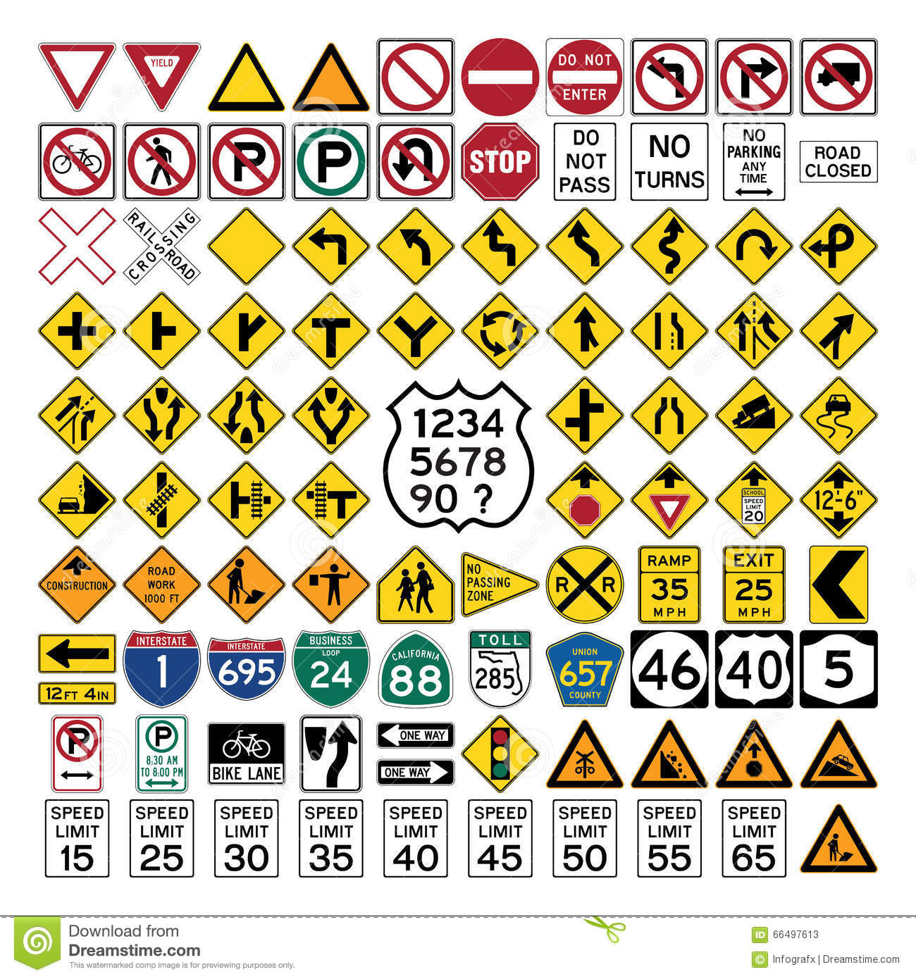 Road Signs And Symbols Stock Illustration Illustration Of Number